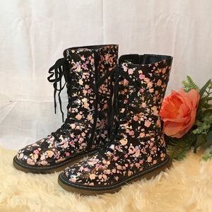 VSCO Girl Grunge Style Floral Combat Boot